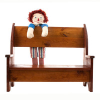 Vintage Wood Bench Handmade Doll Bench Book Shelf Home Decor Farmhouse Country Primitive Shabby Chic Child's Room Furniture Den