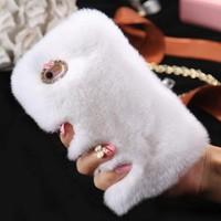 Phone Case Fluffy Warm Soft Wool Rabbit Fur Cover Case Hair Plush Bling Diamond Crystal For iPhone 6 6S 6 Plus 6S Plus 7 7Plus