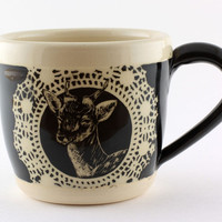 Stoneware Mug with Hand Carved Deer : Antlers No. 3