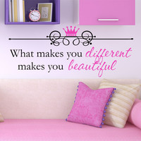 Girls Quote Wall Decal - by Decor Designs Decals, What Makes You Beautiful - Kids Room Decals - Kids Quote - Wall Decals - Princess Decals - Princess Quote Decal H27