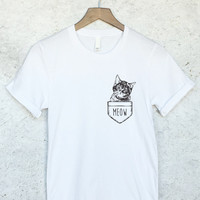 Funny Cat in Pocket Shirt in White