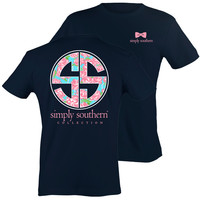 Simply Southern Preppy SS Rose Pattern Logo T-Shirt