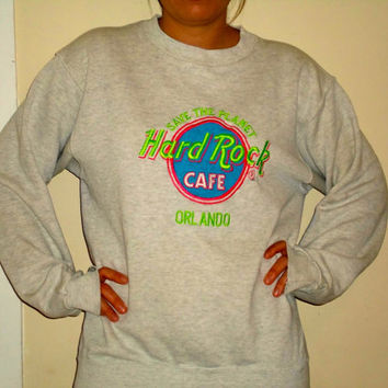 90s Neon Hard Rock Cafe Crewneck Sweatshirt, Hot Pink Lime Green Orlando Pullover Sweater