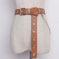"""40"""" faux leather eyelet adjustable long chain belt 1.25"""" wide"""