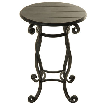Garden Gate Black Metal and Wood Side Table - 25-in