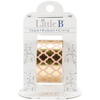 Little B: Gold and Pink Moroccan Window Foil Washi Tape, 25mm with Cutter
