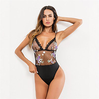On Sale Hot Deal Cute Lace Floral Embroidery Sexy Spaghetti Strap Exotic Lingerie