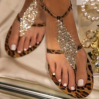 Female Sandals Casual Sparkling Rhinestone Sandals Clip Toe Style Flat Button Female Sandals