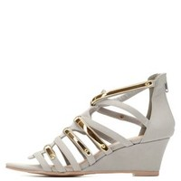 Qupid Strappy Wedge Sandals by