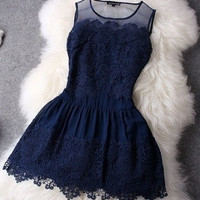 Crochet Sleeveless Ball Gown Mini Lace Navy Blue Cocktail Dresses Causal Party Gowns Pretty Short Graduation Prom Dress 2015 Cheap White Dress = 1932257476
