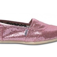 TOMS Women's TOMS GLITTER CLASSICS CASUAL SHOES 7 (PINK GLITTER)