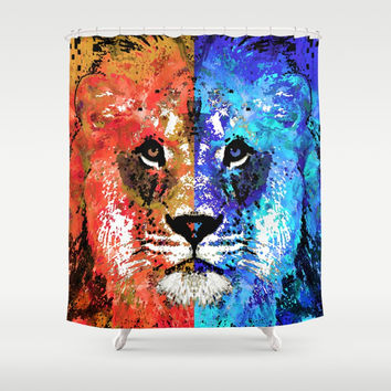 Lion Art - Majesty - Sharon Cummings Shower Curtain by Sharon Cummings