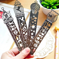 Cute Kawaii Creative Horse Birdcage Hollow Metal Bookmark Ruler For Kids Student Gift School Supplies Free Shipping 1301
