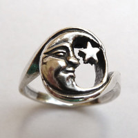 Sterling Silver Moon and Star Ring by MorganFischerJewelry on Etsy