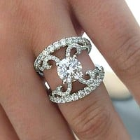 "Gabriel ""Riley"" 14K White Gold Halo Contemporary Split Shank Scrollwork Diamond Engagement Ring"