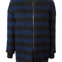 Red Valentino striped ribbed collar and cuffs zipped jacket