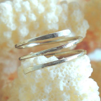 Hammered Alpaca,925 Sterling Silver Wire Toe-Midi-Knuckle Twisted Ring Size 3,4,5,6,7,8