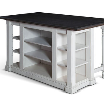 White Farmhouse Country Kitchen Island with Drop Leaf