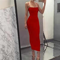Simple Sling Plain Bodycon Long Dress