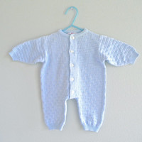 Vintage Baby Boy Romper Pajamas Sleeper All In One Night Clothes 0 to 3 Month Gently Used Baby Blue Clothing