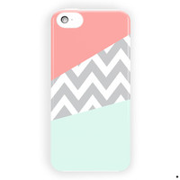 Mint And Coral Chevron Blue Custom For iPhone 5 / 5S / 5C Case