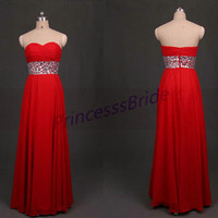 2014 long red chiffon prom dress with rhinestones,cheap sweetheart homecoming gowns,chic floor length dress for hpliday party hot.