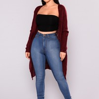 Just Jane Ribbed Cardigan - Wine