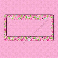 Custom License Plate Frame - Monogram Lilly Pulitzer Inspired Car Tag Frame - Personalized Car Tag Monogram License Plate Frame