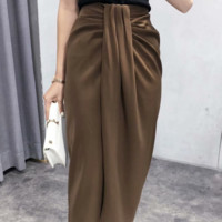 Autumn coffee color knotted skirt front pleated skirt skirt hip skirt
