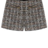 Womens Shorts - Tweed Material / Two Pockets