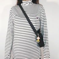 DCCK  Champion Classic Simple Leisure Lovers with High-collar Stripe Bottom Shirts