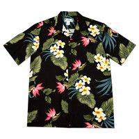 koolau black hawaiian rayon shirt
