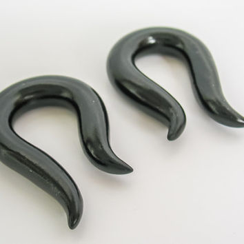 Black Ear Gauges or Ear Plugs 4g to 00g for Stretched Lobes, Gauged Earrings, Small Hooks