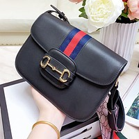 GUCCI High Quality Women Leather Classic Stripe Handbag Tote Shoulder Bag Crossbody Satchel