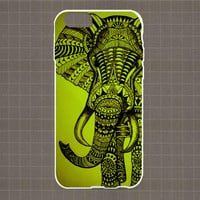 Aztec Elephant - chartreuse (bright yellowish-green) iPhone 4/4S, 5/5S, 5C Series Hard Plastic Case