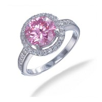 Vir Jewels Sterling Silver Pink and White CZ Ring In Size 8