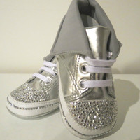 Baby Girl Newborn Infant Silver Rhinestone Crystal Bling Crib Shoes Sneakers High Tops