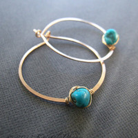 """Turquoise earrings - genuine turquoise hoop earrings gold silver 1.25""""-1.5"""" 36mm Nevada Blue December birthstone Mother's Day gift"""