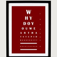 """Eye Chart - Donnie Darko 'Why Do You Wear That Bunny Suit' Quote - 8.5"""" × 12"""" Minimalist Poster Print - Original Wall Decor, Wall Art"""