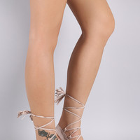 Suede Tassel Lace-Up Thong Flat Sandal