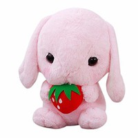 Fiaya 9 Inches Limited Edition Lop-Eared Bunny Plush Stuffed Animal Doll Toy (H(Pink))