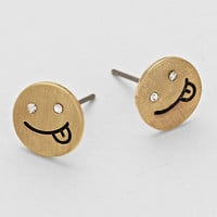 Smiley Face Emoticon Stud Earrings Gold