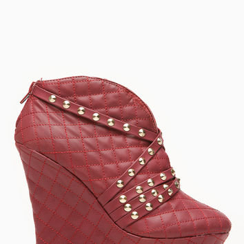 Bumper Burgandy Studded Strap Quilted Wedge Bootie