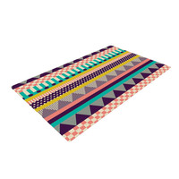 "Louise Machado ""Decorative Stripes"" Teal Pink Woven Area Rug"