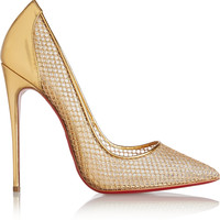 Christian Louboutin - Follies Resille 120 metallic leather and fishnet pumps