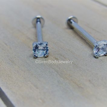 Cheek piercing flat back barbell 14g titanium internally threaded prong 4mm Swarvoski gem pair