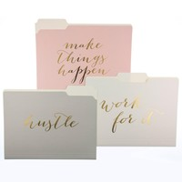 Make Things Happen File Folder Set in Pink, Cream and Grey