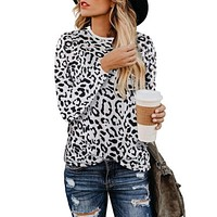 fhotwinter19 New Leopard Print Women's Round Neck Long Sleeve Top