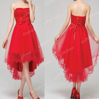 high low prom dresses, lace prom dress, red prom dresses, affordable prom dress, red homcoming dress, evening dresses, BE0504