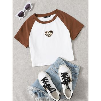 SHEIN Leopard Heart Embroidered Raglan Sleeve Tee